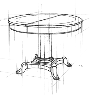 Classic Chairs Conceptual Table Sketch